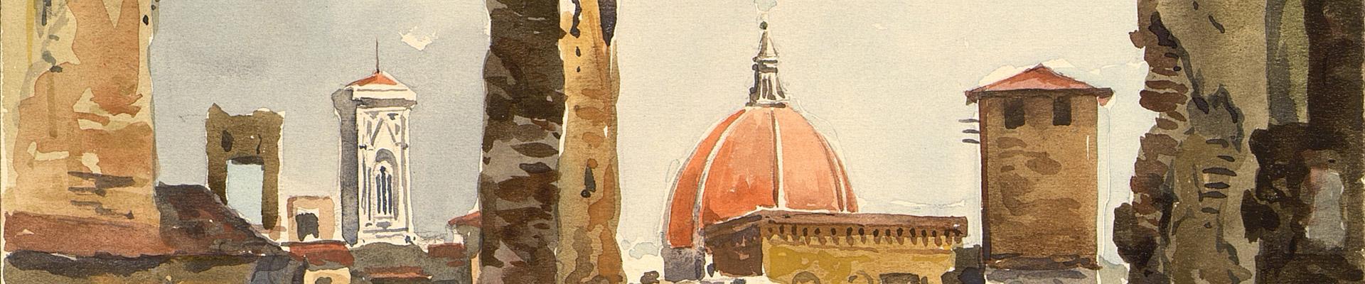 Firenze, i giorni della Liberazione (acquerello di Corradi Pogni)